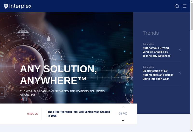 Capture d'écran du site de Interplex Soprec
