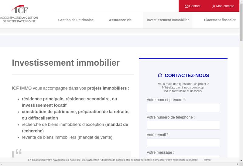 Capture d'écran du site de Conseil Investissement Immobilier