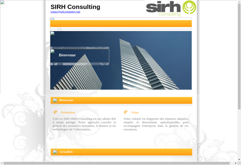 Capture d'écran du site de Sirh Consulting