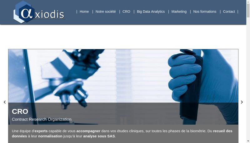 Capture d'écran du site de Axiodis
