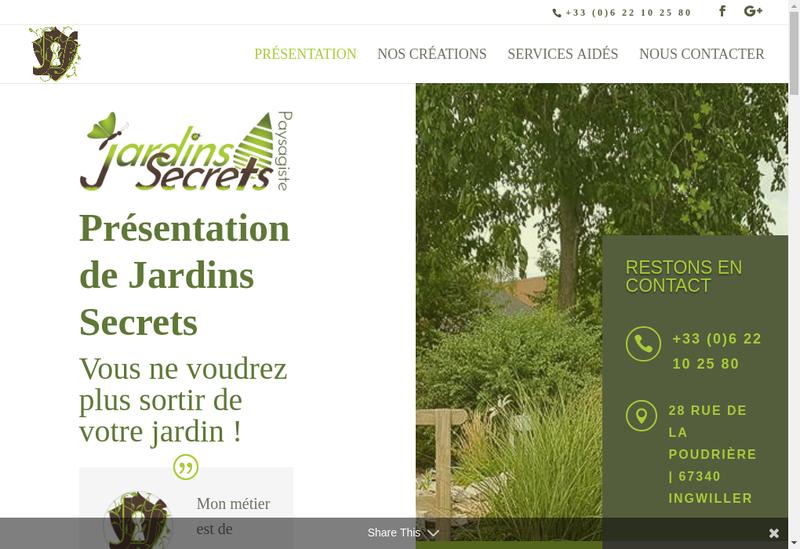 Capture d'écran du site de Jardins Secrets