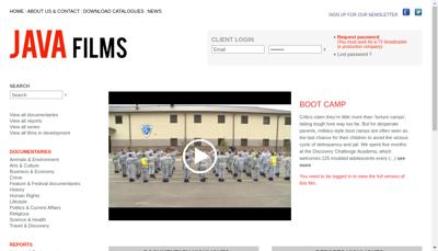 Capture d'écran du site de Java Films