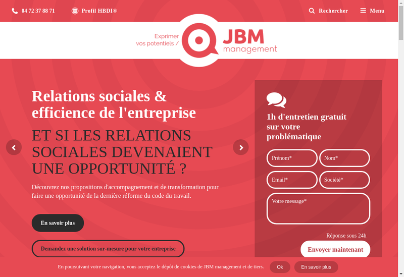 Capture d'écran du site de Jbm-Management