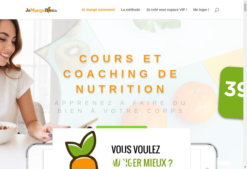 Capture d'écran du site de Je mange bien
