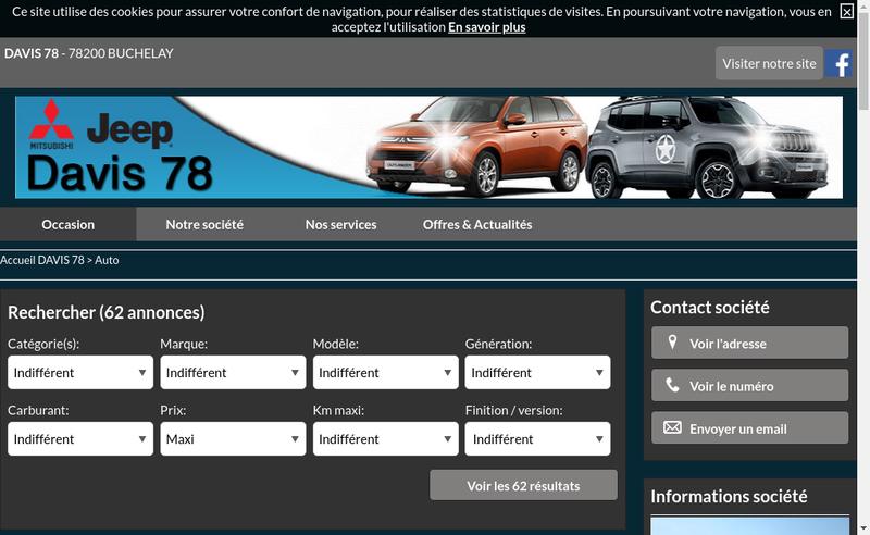 Capture d'écran du site de Davis 78