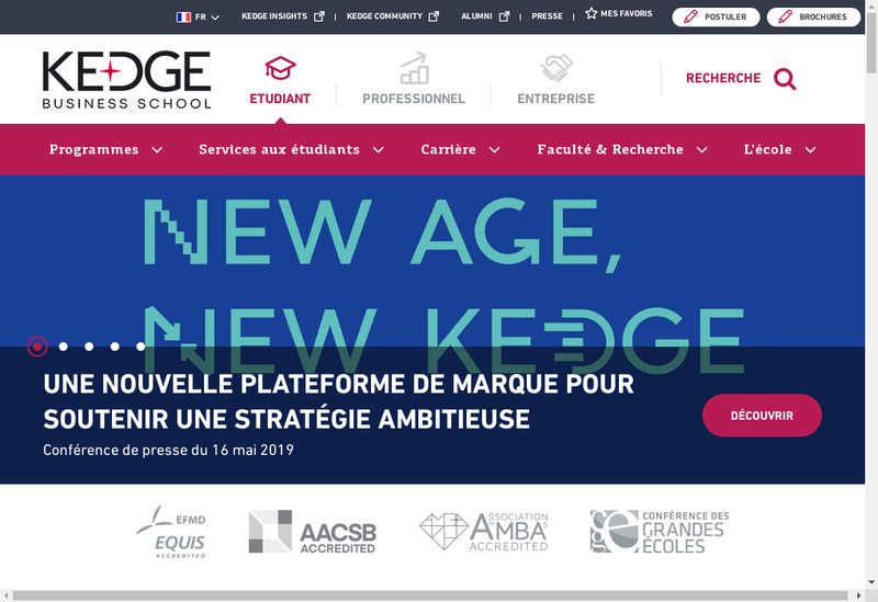 Capture d'écran du site de Groupe Kedge Business School