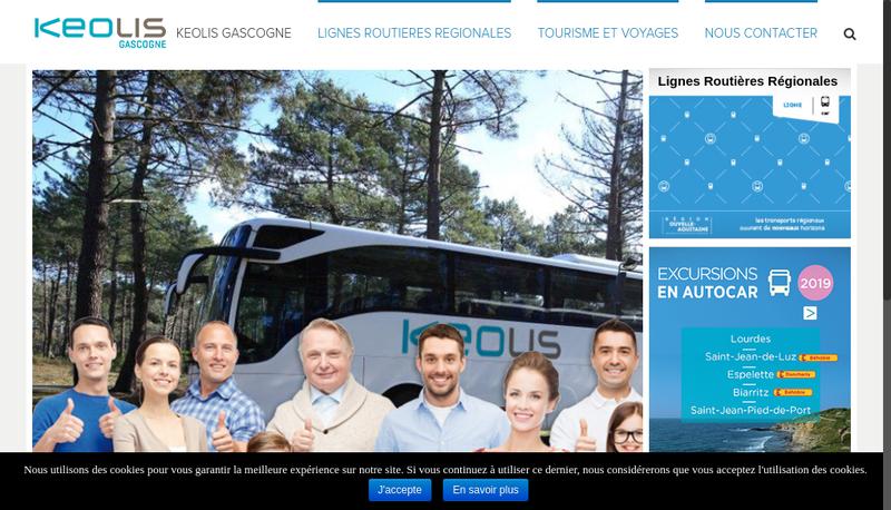 Capture d'écran du site de Keolis Gascogne