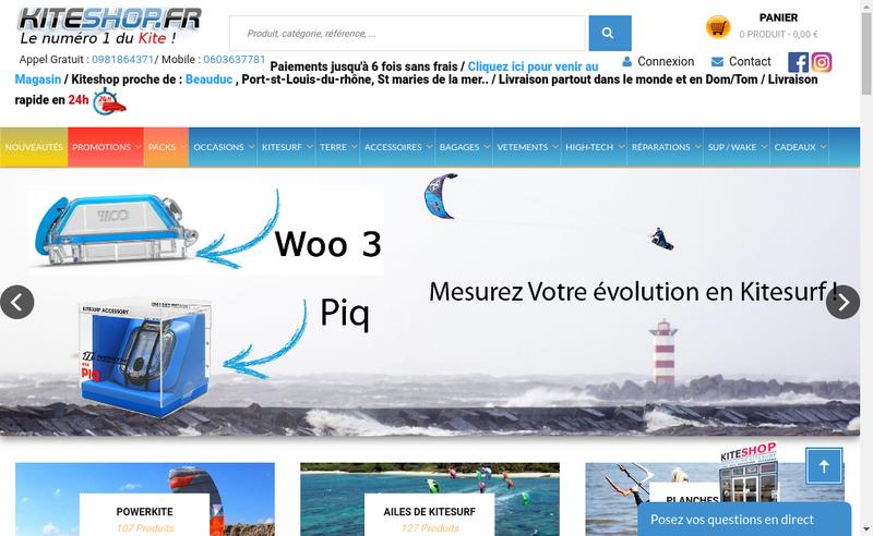Capture d'écran du site de Kiteshop