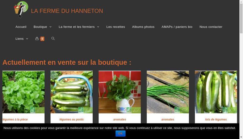 Capture d'écran du site de EARL la Ferme du Hanneton
