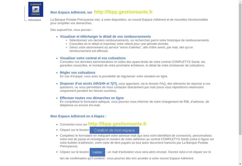 Capture d'écran du site de La Banque Postale Prevoyance