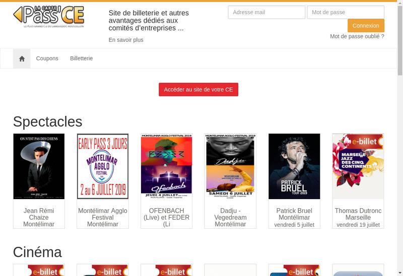 Capture d'écran du site de Pass Ce