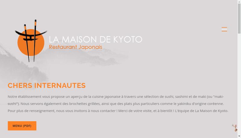 Capture d'écran du site de La Maison de Kyoto
