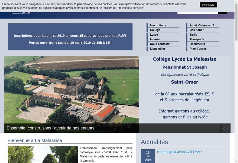 Capture d'écran du site de Lycee Prive la Malassise