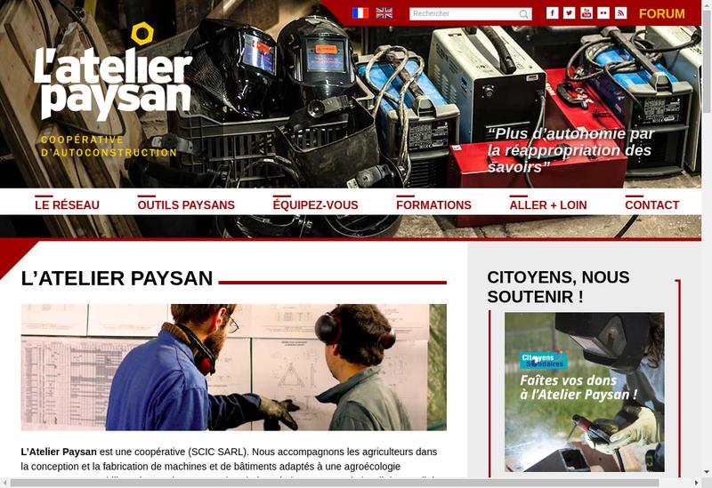 Capture d'écran du site de L'Atelier Paysan