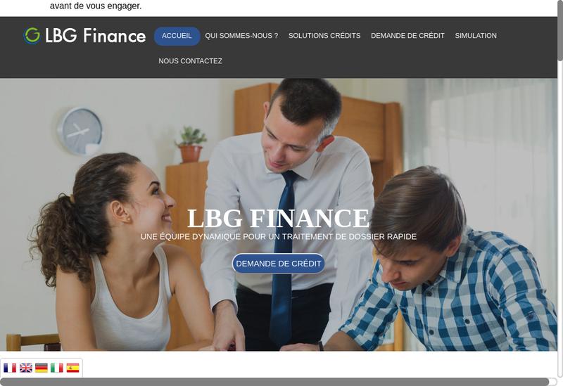 Capture d'écran du site de Lbg Finance