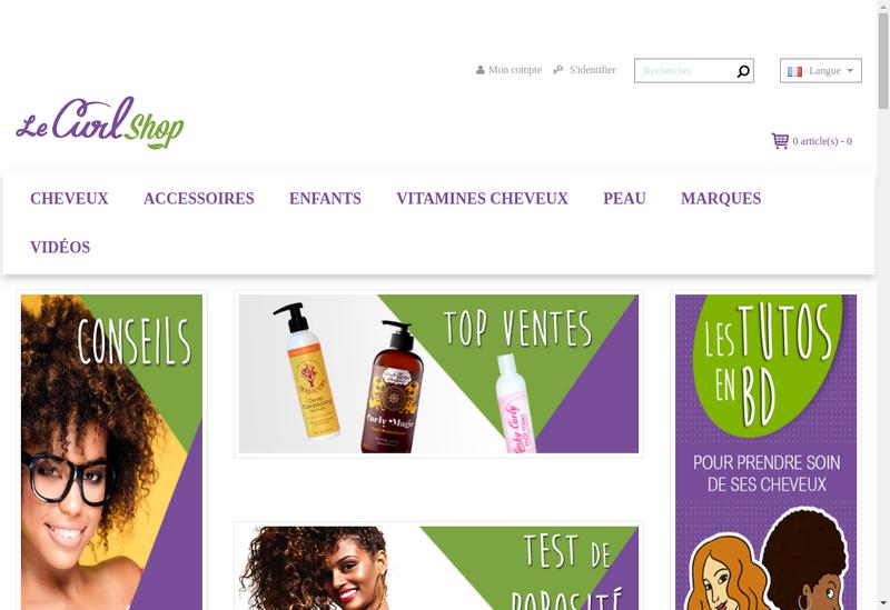 Capture d'écran du site de Le Curlshop