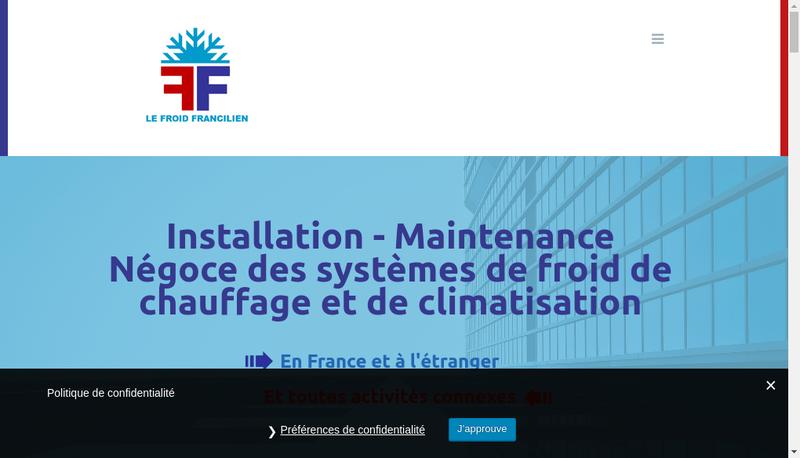 Capture d'écran du site de Le Froid Francilien
