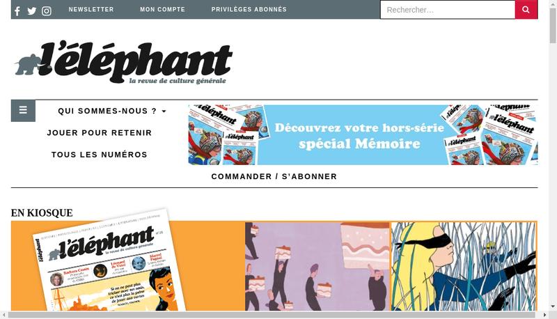 Capture d'écran du site de L'Elephant