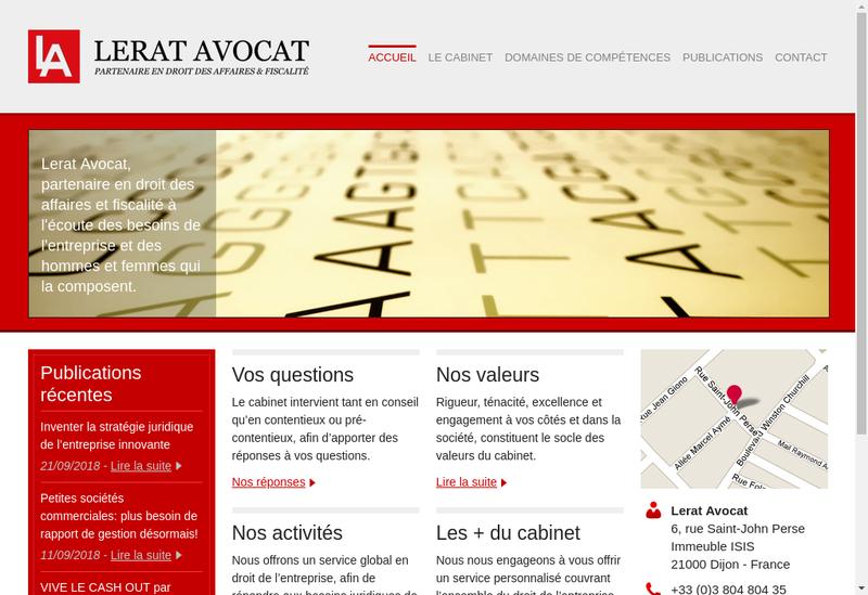 Capture d'écran du site de Lerat Avocat