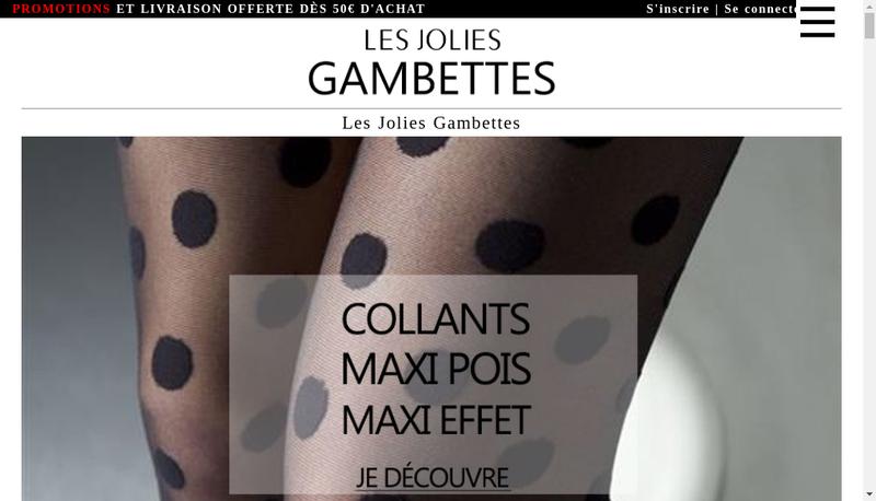 Capture d'écran du site de Les Jolies Gambettes
