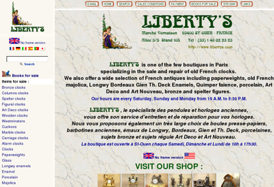 Capture d'écran du site de Liberty S