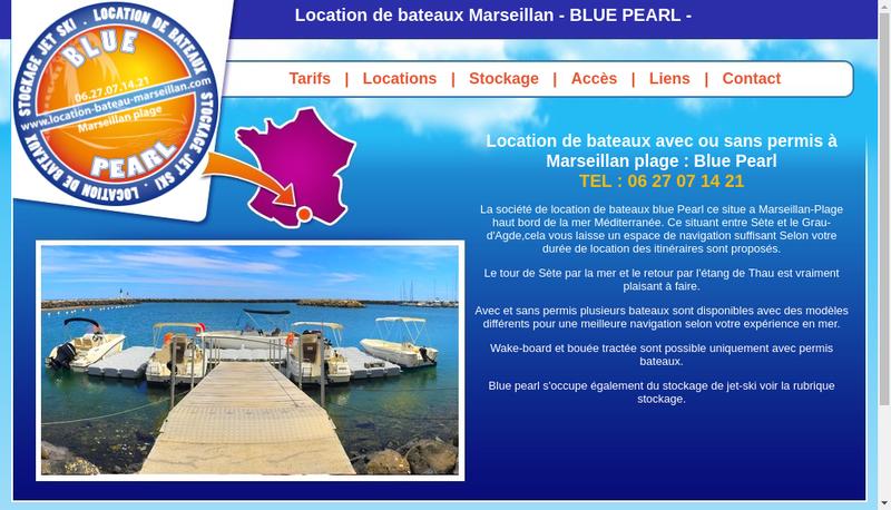 Capture d'écran du site de Blue Pearl