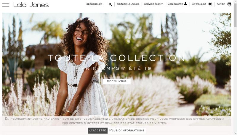 Capture d'écran du site de Lola Jones