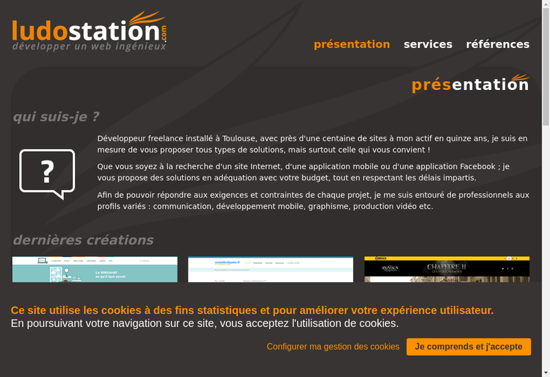 Capture d'écran du site de Ludostation