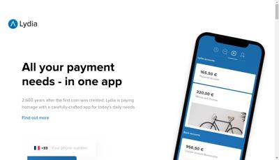 Capture d'écran du site de Lydia Solutions
