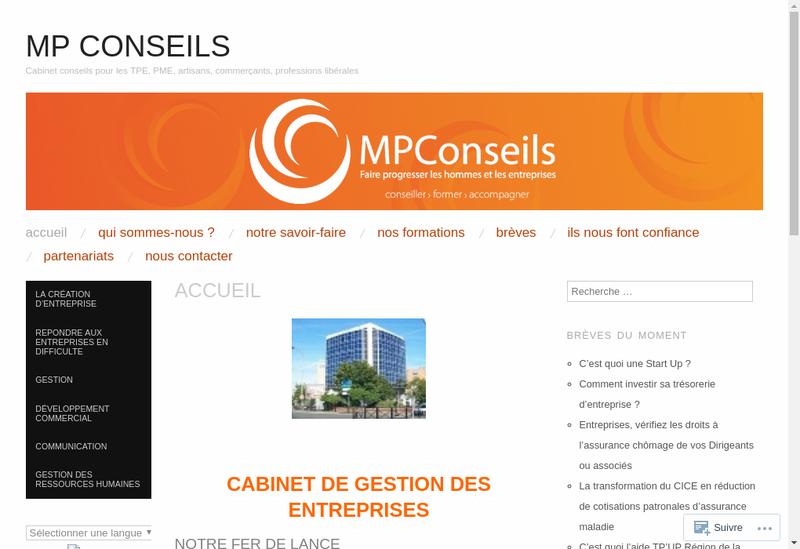 Capture d'écran du site de Mpconseils