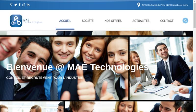 Capture d'écran du site de Mae Technologies