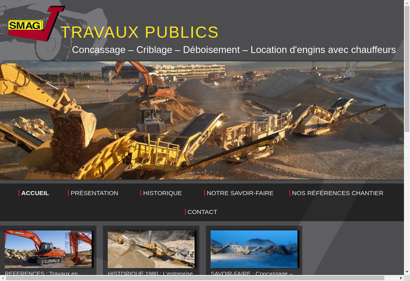 Capture d'écran du site de SMAG