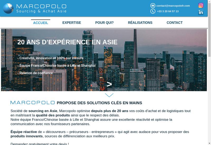Capture d'écran du site de Marco Polo