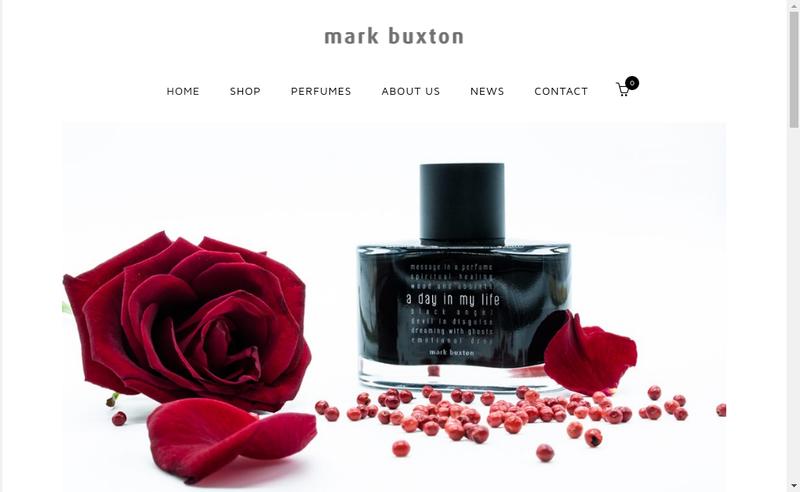 Capture d'écran du site de Mark Buxton Perfumes
