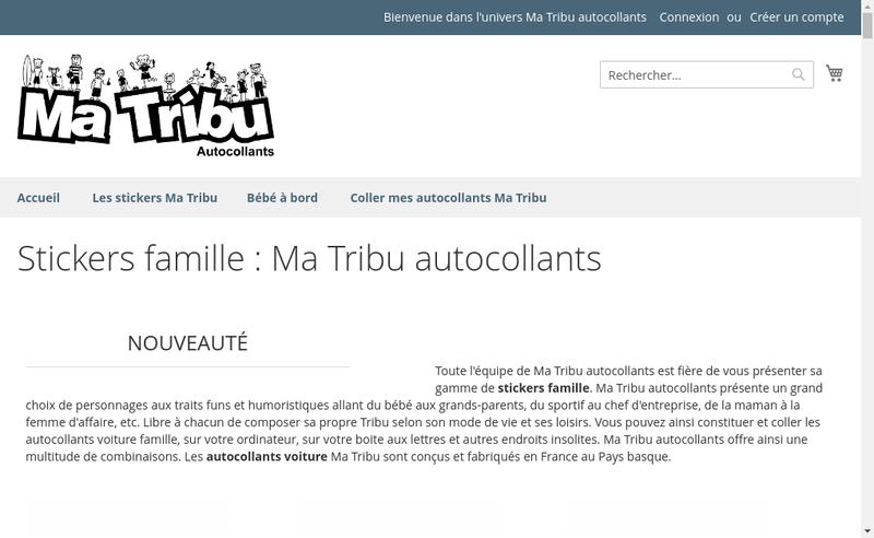 Capture d'écran du site de Ma Tribu Autocollants