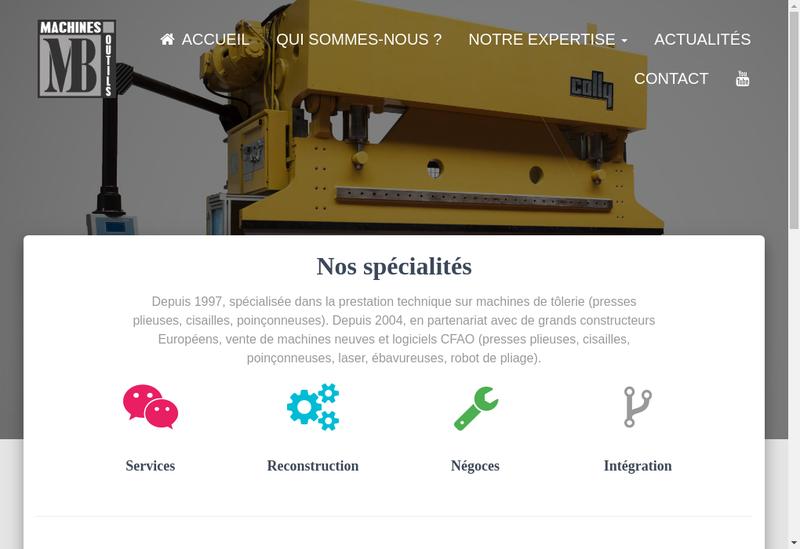 Capture d'écran du site de MB Machines-Outils