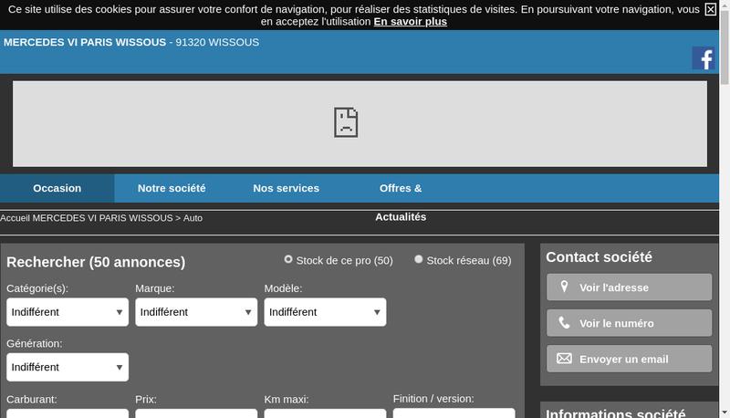 Capture d'écran du site de Mercedes Benz VI Paris Ile de France