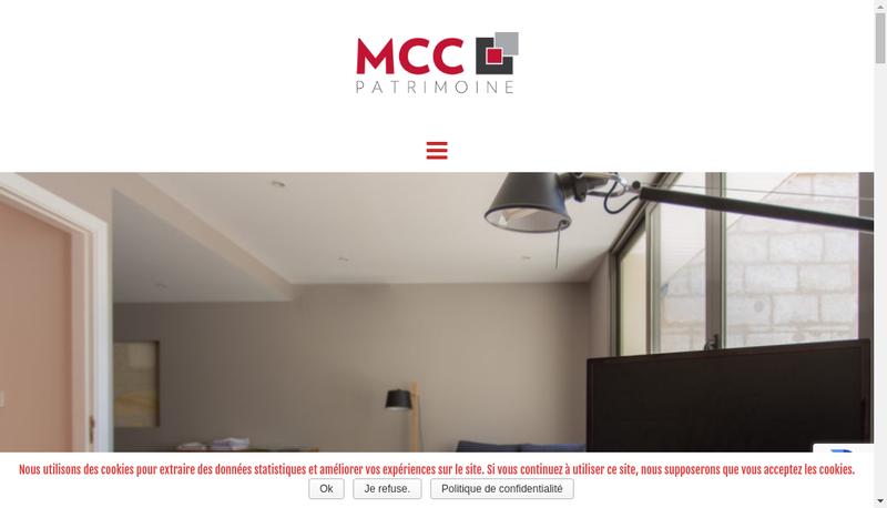 Capture d'écran du site de Mcc Patrimoine