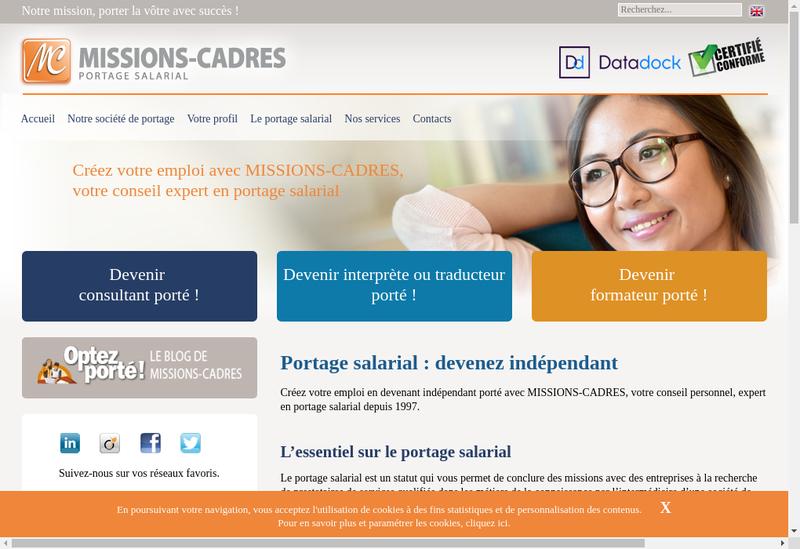 Capture d'écran du site de Missions Cadres