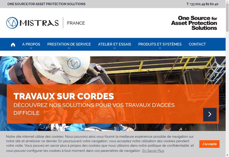 Capture d'écran du site de Mistras Group SAS