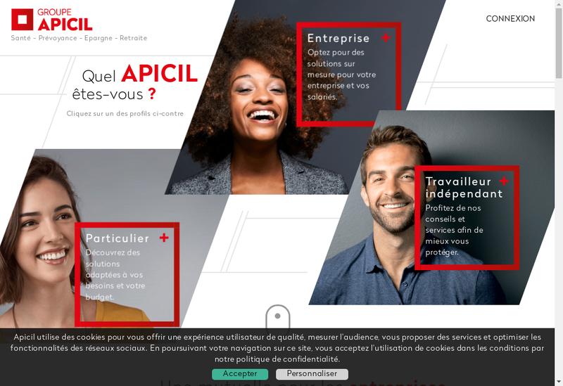 Capture d'écran du site de Apicil Services Protection Sociale