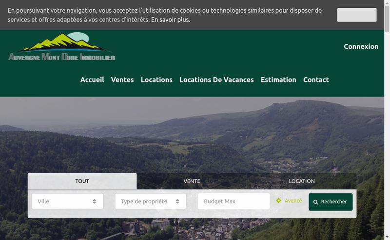 Capture d'écran du site de Auvergne Mont Dore Immobilier