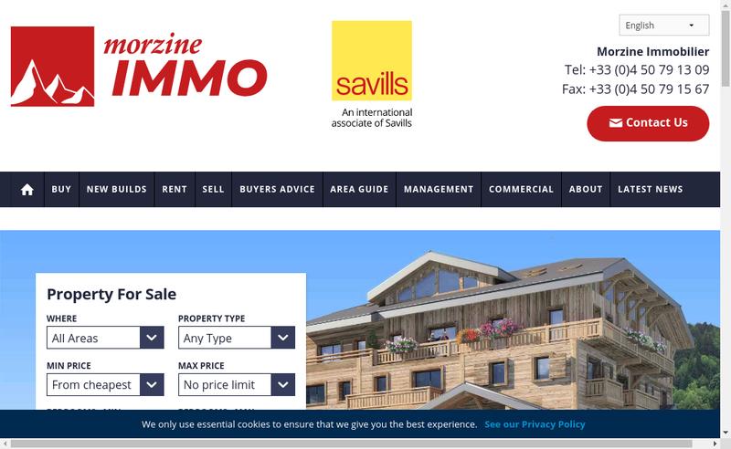 Capture d'écran du site de Morzine Immobilier