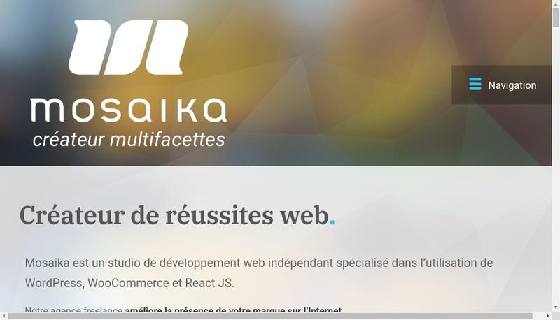 Capture d'écran du site de Mosaika