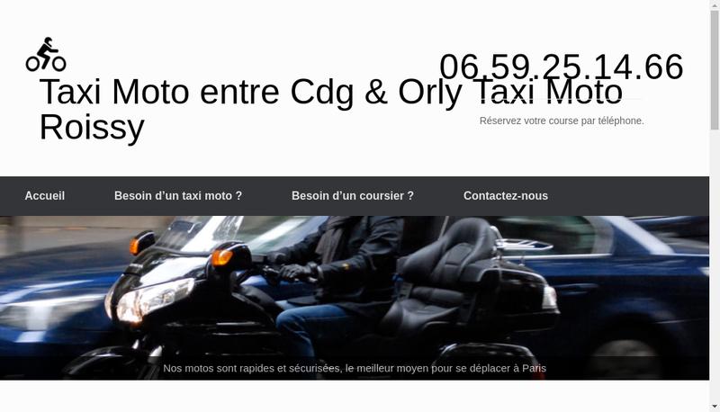Capture d'écran du site de Moto Taxi CDG ORLY