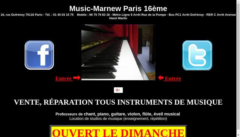 Capture d'écran du site de Music Marnew Instrument