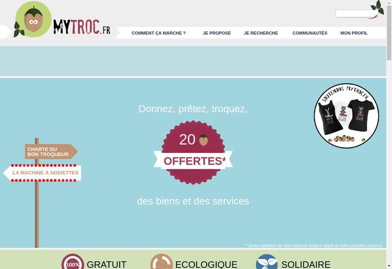 Capture d'écran du site de Mytroc