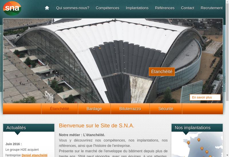 Capture d'écran du site de Societe Nouvelle d'Asphaltes