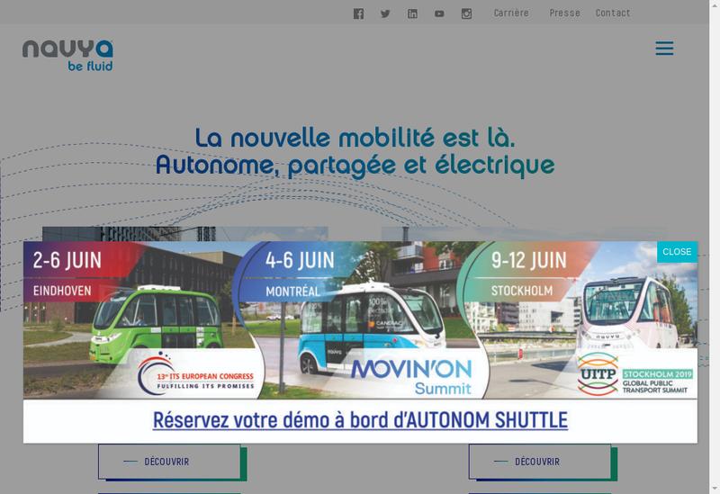 Capture d'écran du site de Navya