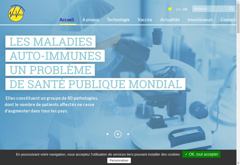 Capture d'écran du site de Neovacs